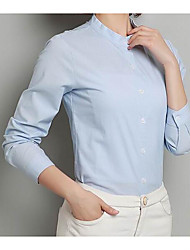 Women's Work Simple Shirt,Solid Stand Long Sleeve Cotton