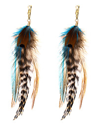 lureme® Drop Earrings Jewelry Animal Design Geometric Movie Jewelry Fashion Multi-ways Wear Africa Feather Alloy Geometric Jewelry ForParty