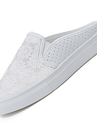 Women's Slippers & Flip-Flops Summer Comfort PU Outdoor Flat Heel Satin Flower Black White Walking