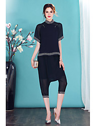 Mujer Adorable Noche Casual/Diario Primavera Verano Camisas Pantalón Trajes,Escote Chino Un Color Manga Corta Malla Inelástica