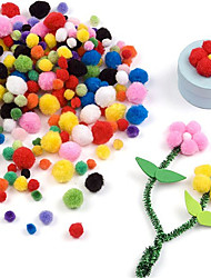 200Pcs/Set  Many Sizes Multicolor Pompon DIY Plush Balls Home Decorative Flower Crafts Toy Head Wreaths Garment Accessories