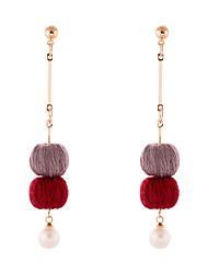 Lureme Handmade Simple Gold Long Chain with Burgundy and Grey Pom Pom Dangle Earrings