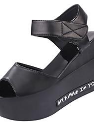 Women's Heels Summer Slingback PU Casual Low Heel Hook & Loop