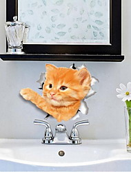 Animals Wall Stickers 3D Wall Stickers Toilet Stickers,Vinyl Material Home Decoration Wall Decal