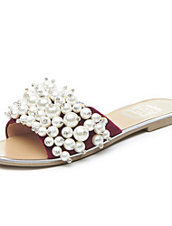 Women's Slippers & Flip-Flops Summer Fall Slingback Fleece Office & Career Party & Evening Dress Flat Heel Rhinestone Pearl Burgundy Green