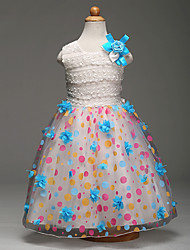 Ball Gown Tea-length Flower Girl Dress - Lace Organza Satin Sleeveless Jewel with Bow(s) Flower(s) Pattern / Print Sash / Ribbon