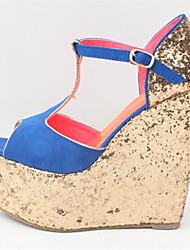 Feminino-Saltos-Tira em T Sapatos clube-Anabela-Preto Vermelho Azul-Flanelado-Casamento Social Festas & Noite