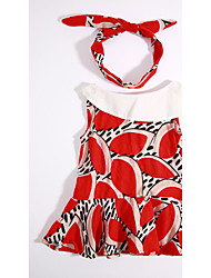 Girl's Casual/Daily Color Block Print Dress,Cotton Summer