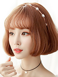 Fashion ladies short puppets light brown straight bangs natural wave high temperature wire wigs