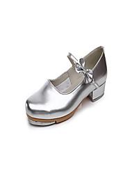 """Women's Tap Patent Leather Heels Indoor Bow(s) Low Heel Silver 1"""" - 1 3/4"""""""