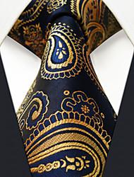 UXL10  Classic Mens Necktie Navy Blue Paisley 100% Silk Business Fashion Handmade