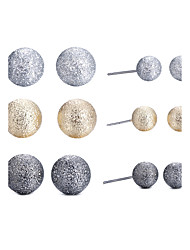 Classic 6 Pairs Triple Tones(Silver Gold Gunmetal) Matte Ball Stud Earrings Set