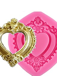 Random Color Vintage Love Heart Shape Mirror Frame 3D Silicone Mold Fondant Chocolate Candy Clay Molds Cake Decorating Tools