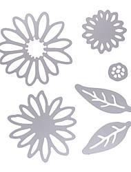 6Pcs/Set Chrysant Flower With Leaves Metal Die Cutting Dies For Diy Scrapbooking Photo Album Decorative Embossing Folder
