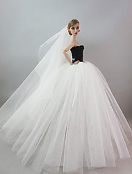 Wedding Dress in Black & White with A Long Veil For Barbie Doll For Girl's Doll Toy