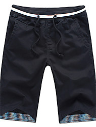Men's Mid Rise Inelastic Shorts Pants,Straight Solid