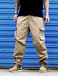 Men's High Rise Inelastic Chinos Pants,Simple Loose Straight Solid