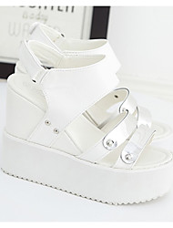 Women's Sandals Light Soles PU Spring Winter Casual White Black 3in-3 3/4in