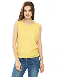 Tee-shirt Femme,Couleur Pleine Sortie Grandes Tailles Sexy Eté Sans Manches Col Arrondi Polyester Fin
