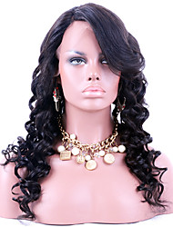 Perucas virgens brasileiras do laço do cabelo virgem perucas onduladas glueless do cabelo virgem humano da onda para a mulher preta