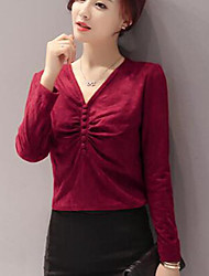 Damen Solide Einfach Ausgehen T-shirt,V-Ausschnitt Langarm Polyester