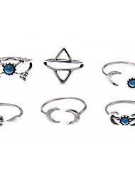 lureme® Jewelry Set Turquoise Unique Design Logo Style Luxury Sideways Multi-ways Wear Adorable Simple Style Carved Gemstone Chrome Geometric