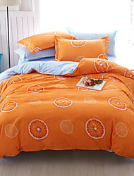 Duvet Cover Set 1pc Duvet Cover 1pc Bed Sheet Set 2  pcs Pillowcase Bedding Set Sweet orange