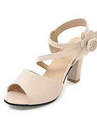Damen-Sandalen-Lässig-Kunstleder-Blockabsatz-Komfort-