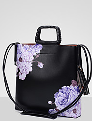 Ladies 'pu leisure new floral print shoulder handbag