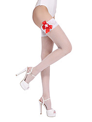 BONAS Fishnet Stay Up Stockings Women Summer Style Sexy Nylon Thigh High Knee Socks Solid Color Design White Thin Plus Size
