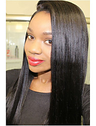 8A Peruvian Virgin Human Hair Natural Black Color Long Silk Straight Lace Front With with Baby Hair