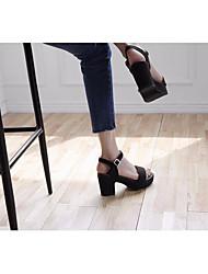 Damen-Sandalen-Lässig-PUKomfort-Schwarz Mandelfarben