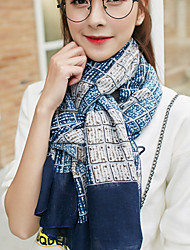Korea Cotton and Linen Retro Lattice Grid Scarf Shawl Long Rectangle Women's Sunscreen Bohemia