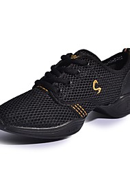 Women's Dance Shoes Leather Synthetic Dance Sneakers Sneakers Low Heel Performance Black/Gold Pink/Black Fuchsia White