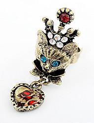 Korean Style Adorable Rhinestone Luxury Lady Fox Cuff Ring Movie Jewelry
