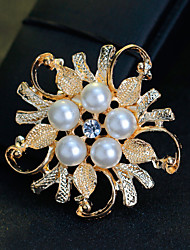 Women's Girls' Brooches Floral Pearl Crystal Alloy Jewelry For Wedding Party Special Occasion Daily