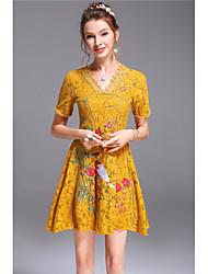 Mujer Línea A Vestido Noche Casual/Diario Bonito,Un Color Bordado Escote en Pico Sobre la rodilla Manga Corta Algodón Primavera Verano