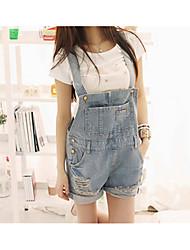 2017 Frühling und Sommer koreanische Version des Zustroms von Frauen schnallen lose Jeans-Shorts Shorts dünne Denimhose war Strapse Hosen