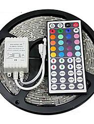 Z®zdm impermeabile 5m 24w 300x2835rgb smd luce principale della striscia 44key ir kit di controllo remoto (dc12v)