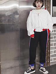 Feminino Moda de Rua Cintura Alta Inelástico Chinos Calças,Solto Cor Única