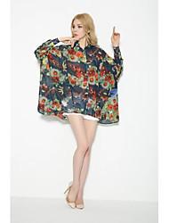 Damen Blumen Sexy Einfach Street Schick Ausgehen Lässig/Alltäglich T-shirt,Hemdkragen Sommer Herbst Langarm Baumwolle Mittel