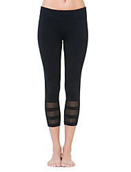 Women's Fashion Lace Patchwork Breathable Quick Dry Compression Stretch Yoga Sports Tights Pants Fitness Running Leggings Spring/Summer Black