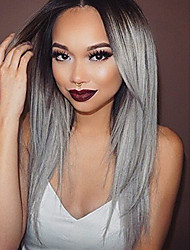 Women's Ombre Gray Dark Roots Long Synthetic Wigs 2 Tone Ombre Color Silk Straight Lace Front Wig For Cosplay Party Wig