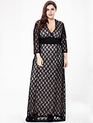 SWEET CURVE Women's Plus Size Vintage Lace Dress,Solid Deep V Maxi Long Sleeve Polyester Summer Fall High Rise Micro-elastic Medium