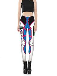 Feminino Fofo Sensual Cintura Média Micro-Elástica Chinos Calças,Skinny Letra Estampado,Floral