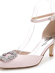 Women's Heels Summer Fall D'Orsay & Two-Piece Silk Wedding Outdoor Office & Career Party & Evening Dress Casual Stiletto HeelRhinestone
