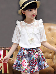 Girls' Fashion And Lovely Hollow Out Short Sleeve T-shirt Broken Flower Skirt Two-Piece Dress
