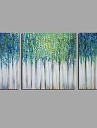 Pintada a mano Abstracto Horizontal,Modern Clásico Tres Paneles Lienzos Pintura al óleo pintada a colgar For Decoración hogareña