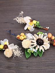 Rhinestone Basketwork Flax Fabric Headpiece-Wedding Special Occasion Casual Outdoor Headbands Flowers Hair Pin 1 Piece
