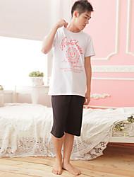 Pyjamas pour couples costume coupe ronde pur coton à la maison costume pyjama masculin respirant